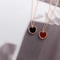 925-Sterling-Silver-Jewelry-Love-Heart-Shape-Rose-Gold-Red-Agate-Necklace-For-Women
