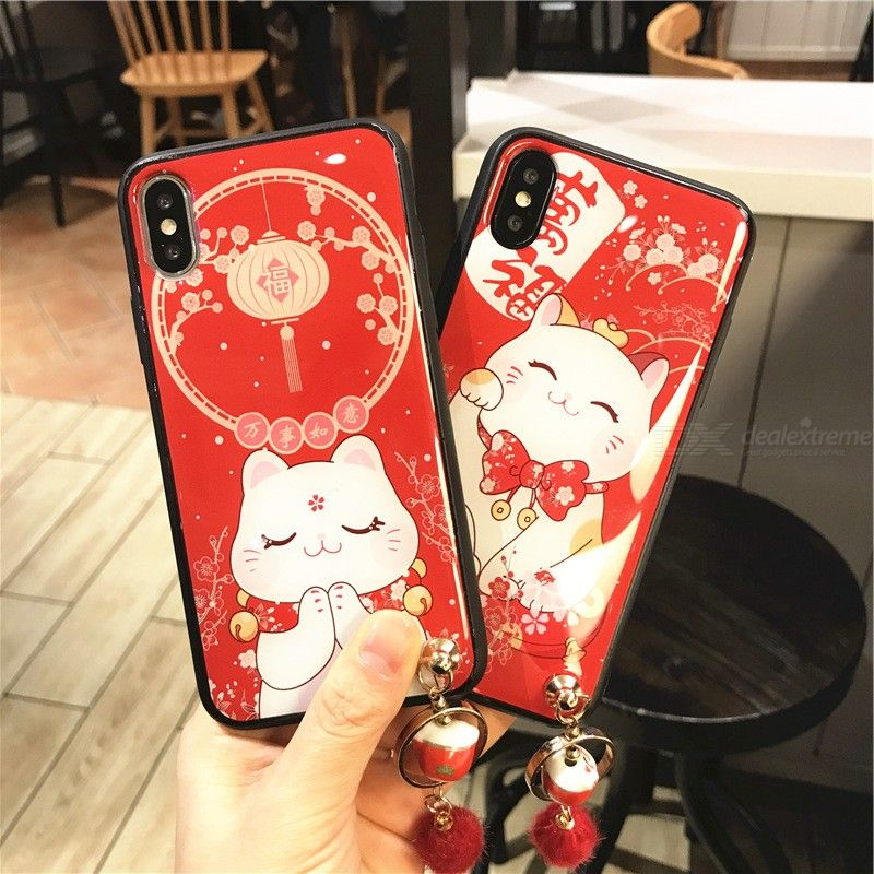 Random Creative Lucky Cat Phone Case Chinese Spring Festive-themed Phone Cover For IPHONE