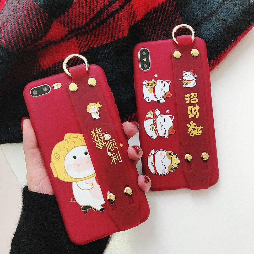 Random Phone Case Chinese Pig Zodiac Sign Maneki-neko Patterned Cellphone Cover With Self-strap For IPHONE
