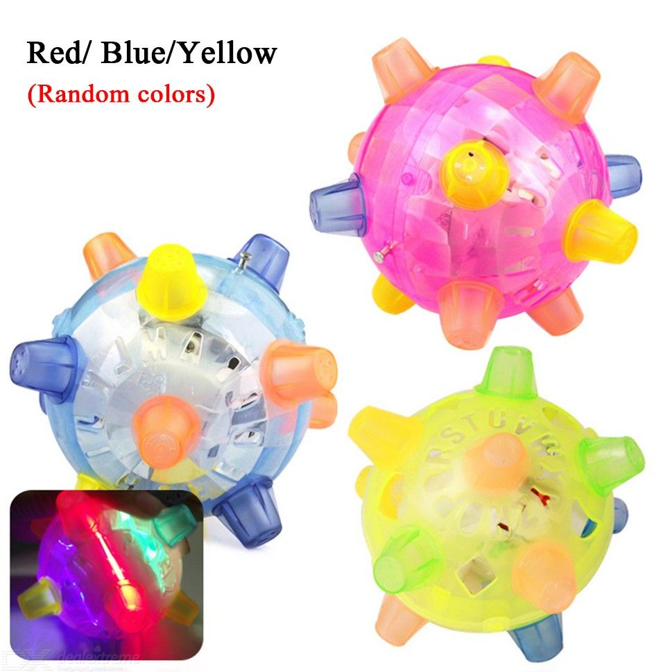 Colorful Flash Music Ball Toy Jumping Activation Ball-Cat Dog Chew Electric Toys Dancing Ball Random Color