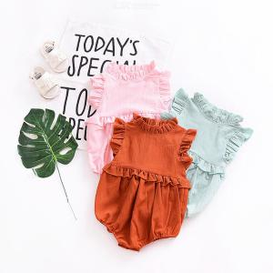 Girls Baby Climbing Clothes Short Sleeve Jumpsuit One Piece