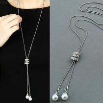 Long Pearl Pendant Necklace Crystal Sweater Chain Fashion Jewelry For Women - Silver