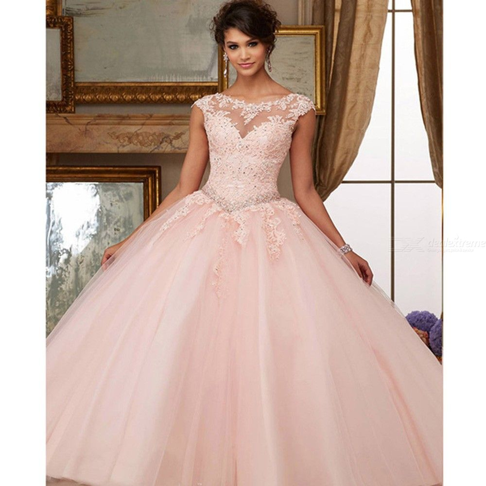 Organza Lace Beaded Appliques Ball Gown Coral Cinderella Quinceanera Dresses Customade Sweet