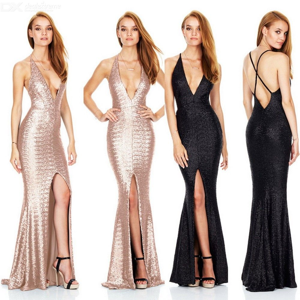Sexy Plunge Neck Evening Dress Halter-style Sequin Dress For Women
