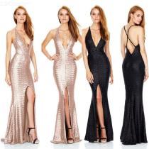 Sexy-Plunge-Neck-Evening-Dress-Halter-style-Sequin-Dress-For-Women