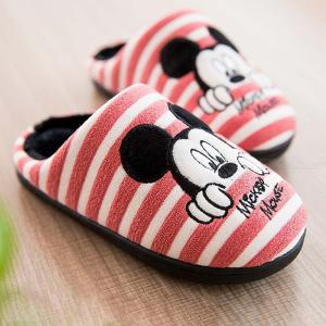 Girls Pink Minnie Mouse Slippers Warm Cute Cartoon Indoor Shoes