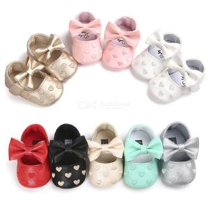 Baby Girls Princess Shoes Bowknot Soft Moccasin Infant Toddler Girl Leather Crib Shoes