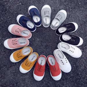 Children's Shoes Boys Girls Low-top Canvas Shoes Candy Color Kids Casual Slip-On Breathable Shoes