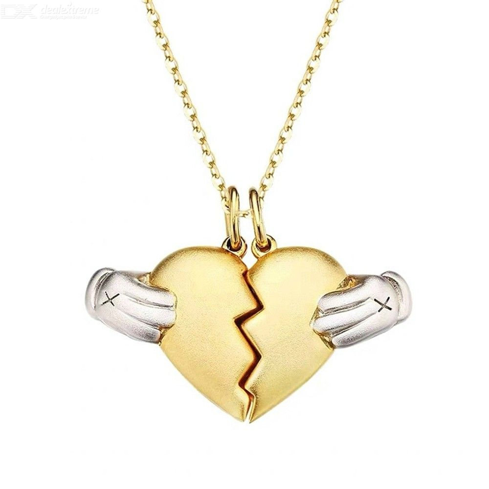 925 Sterling Silver Gold Heart Love Necklaces For Couples Fashion Trendy Paired Pendant