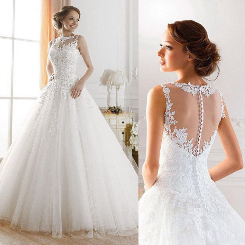 Backless Lace Wedding Dress Sleeveless Prom Dress With Applique Details
