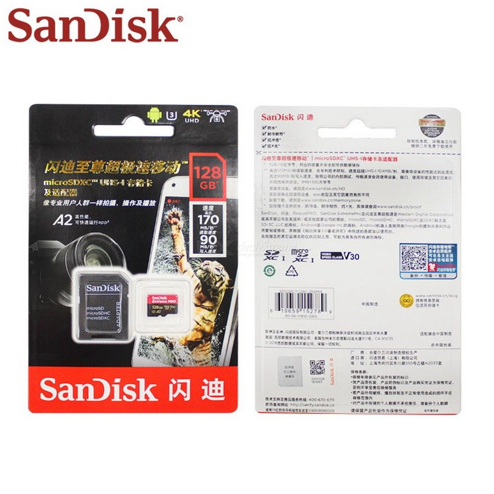 Sandisk Extreme Pro Micro SD Card Up To 170MB/s A2 V30 U3 64GB 128GB Sandisk TF Card Memory Card