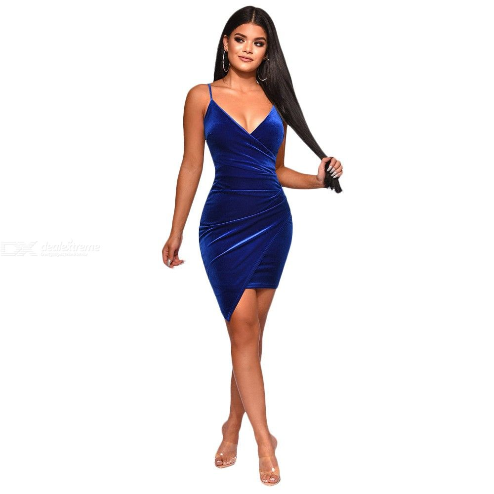 Party Dress Sexy Velvet Bodycon Backless V-Neck Midi Sheath Irregularity Hemline Royal Blue Dresses For Women