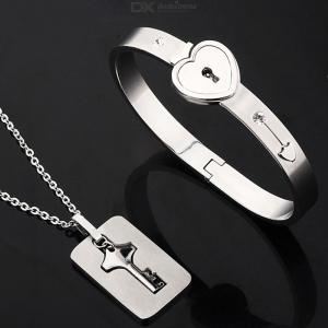 Stainless Steel Keys Concentric Pendants Necklaces Heart Lock Bracelets Couple Jewelry Set