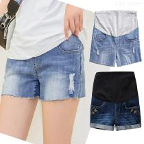Womens-Maternity-Jean-Shorts-Pregnancy-Over-The-Belly-Pants