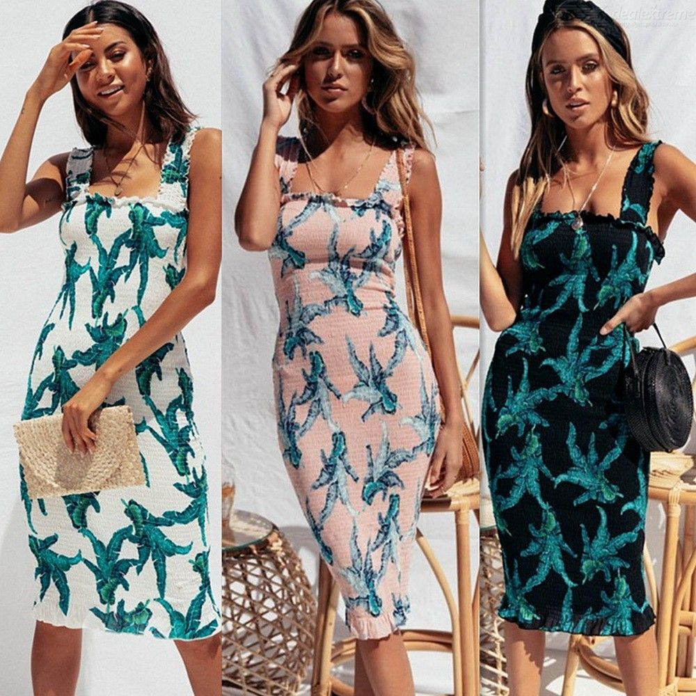 Floral Print Backless Bodycon Dress Sexy Wide Strap Elastic Bust Elegant Summer Ruffles Midi Beach Dresses For Women