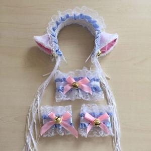 Cat Girl Cosplay Costumes Suits Lace Cat Ear Headband Tail Halloween Maid Sexy Cos Props
