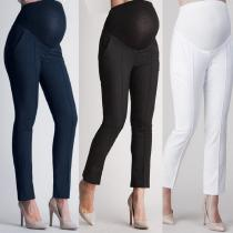 Womens-Over-The-Belly-Pants-Casual-Soft-Maternity-Leggings