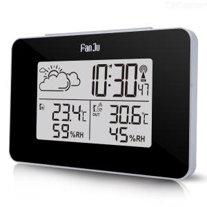FanJu FJ3364 Digital Alarm Clock Weather Station Wireless Sensor Hygrometer Thermometer Multi-function LED Desktop Table Clock