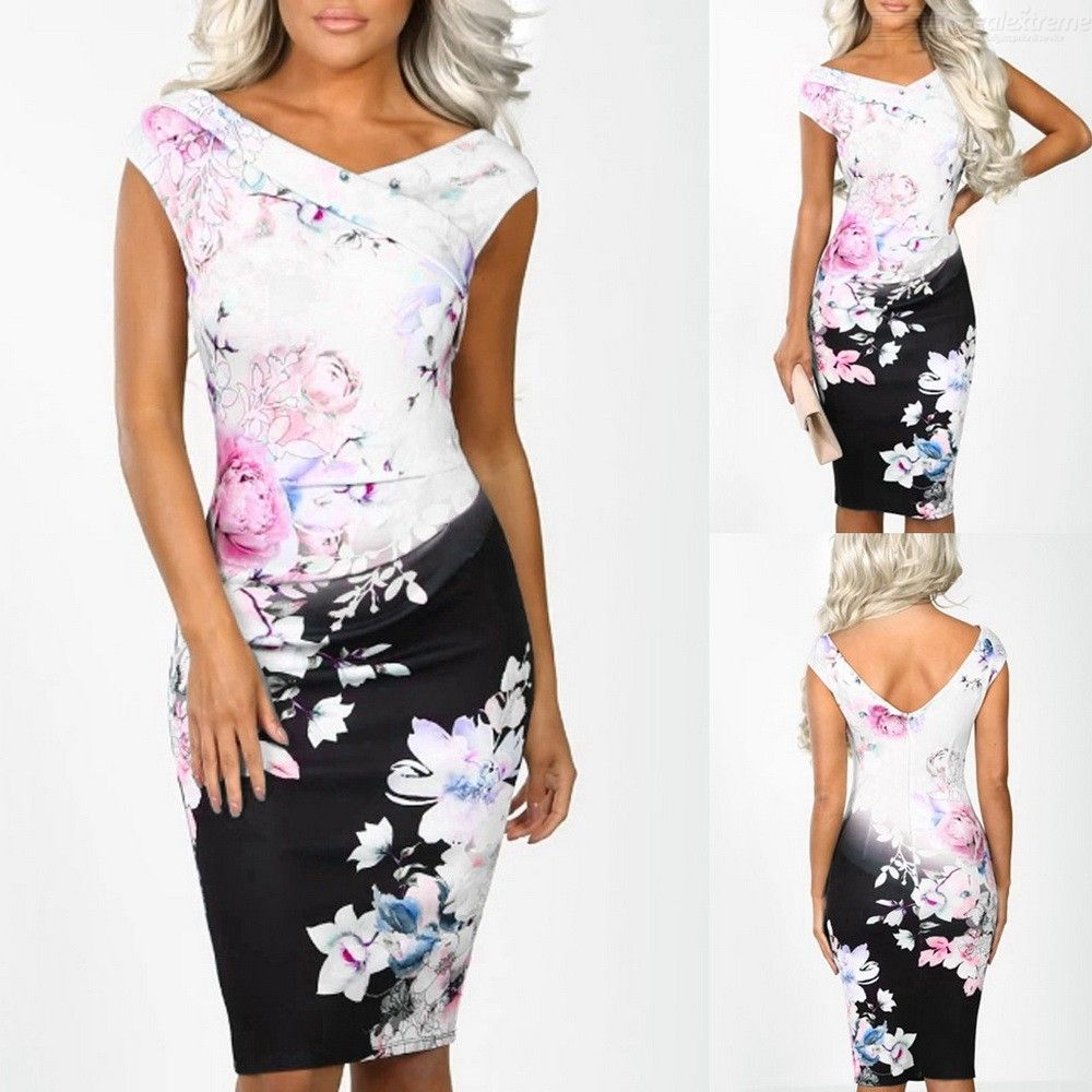 Sheath Sleeveless Print Dress V Neck Power Trip Multi Floral Print Party Evening Bodycon Midi Dresses For Women