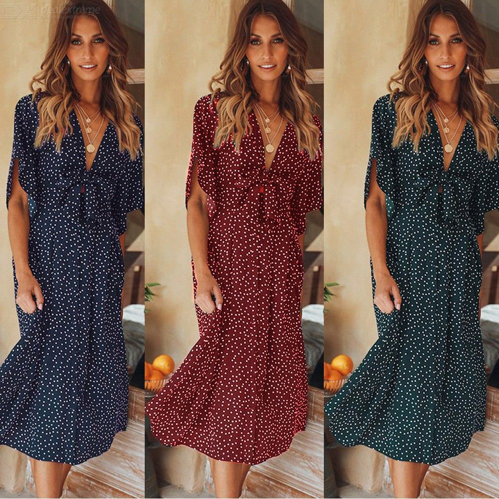 Retro Polka Dot Dress Bohemian Short Sleeve Bow Knot Deep V Neck Knee Length Dresses For Women