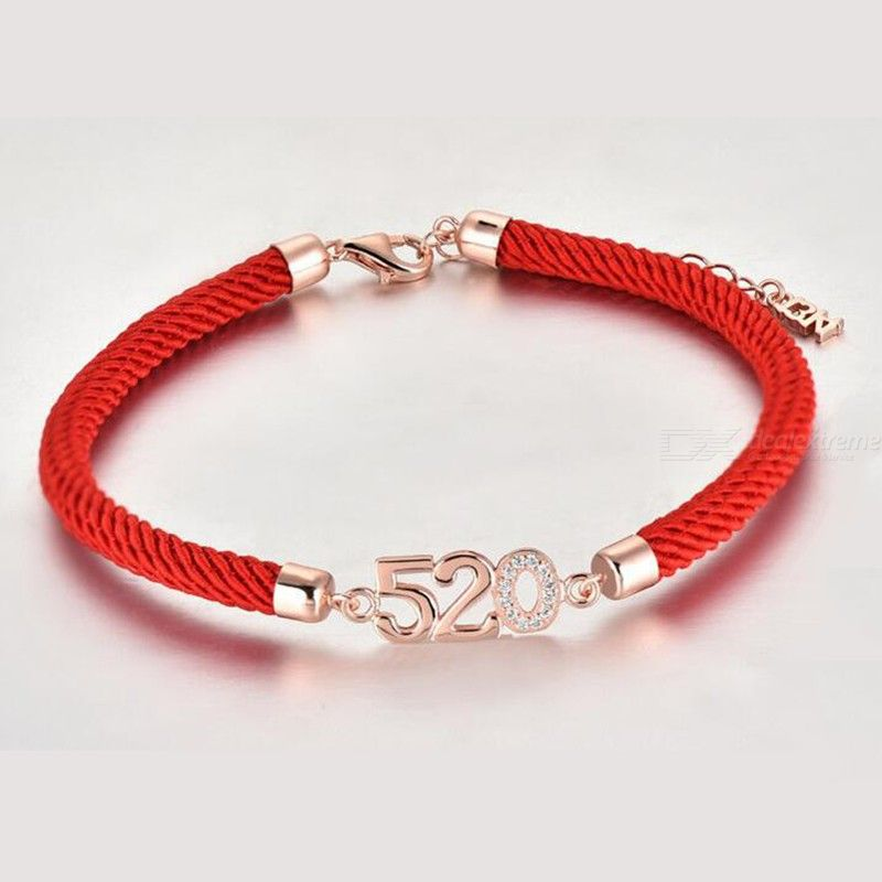 925 Sterling Silver Bracelet Women Crystal Lucky Red Rope Number 5201314 Lover Bracelets For Couples Bangle Jewelry