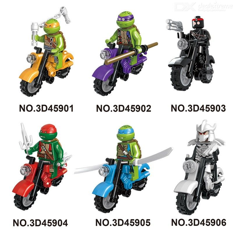 6Pcs Motorcycle Knights Mighty Micros Building Block Model Bricks Toy For Children