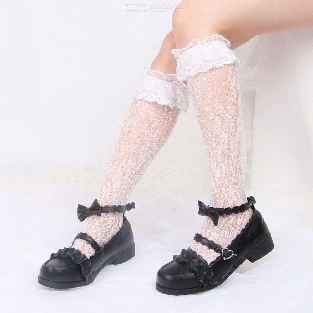 Lovely Girl Lolita Lace Embroidery Stockings Lolita Pantyhose Spring Summer Autumn Stocking