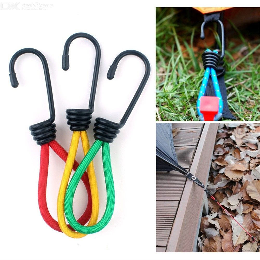 3Pcs 15cm Camping Tent Elastic Rope Buckle High Elasticity Fixed Straps Accessories Mixed Color