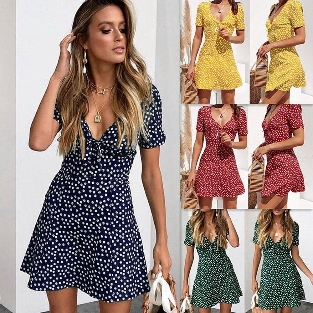 Summer Mini Dress Short Sleeve Bodycon Beach Party Dot Chiffon Dresses For Women