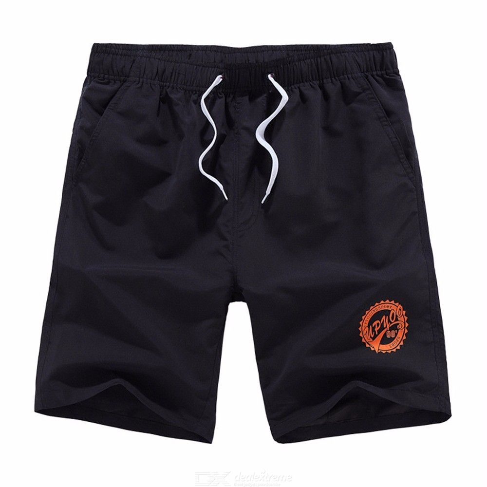 Men Casual Solid Quick-Drying Beach Pants Summer Loose Surfing Knee Length Shorts
