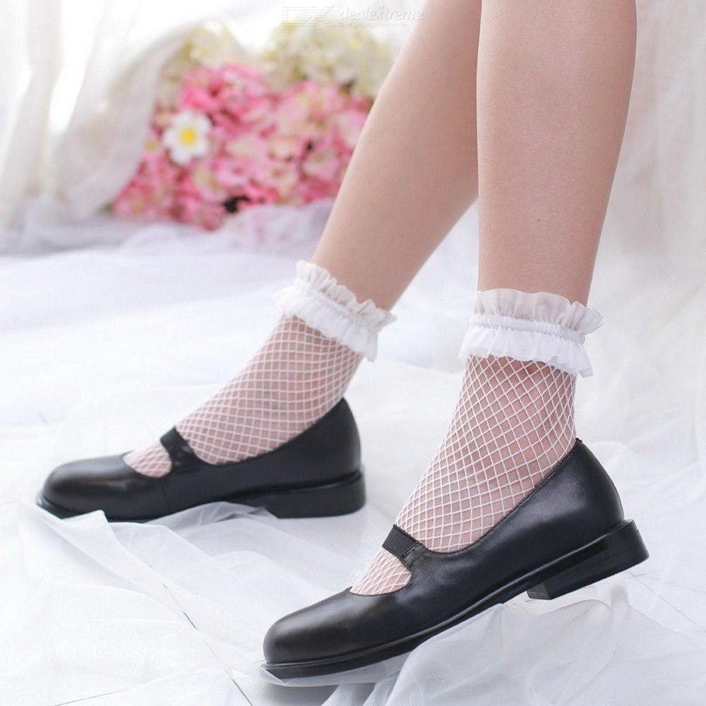 Lolita Lace Fishnet Mesh Socks Women Retro Harajuku Girls Lolita Socks