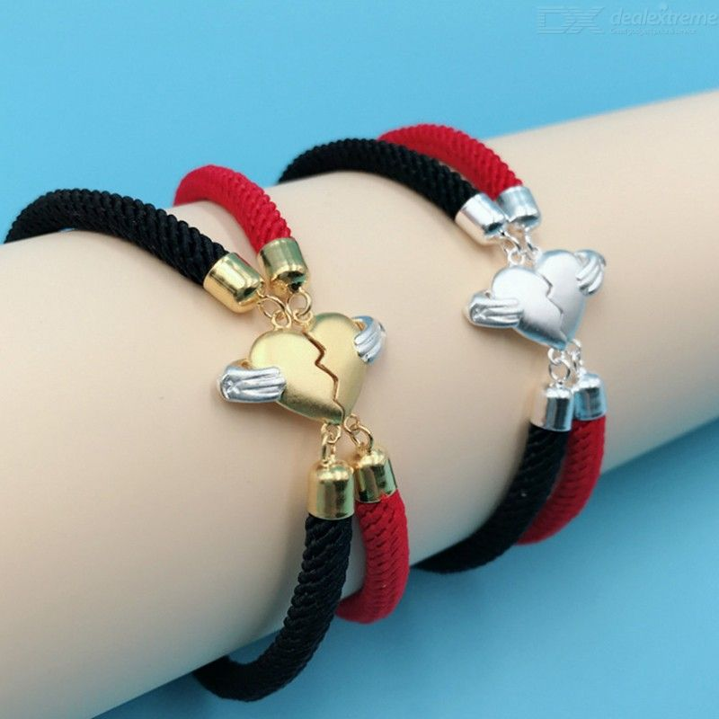 925 Sterling Silver Heart Shape Couple Red Rope Charm Bracelet