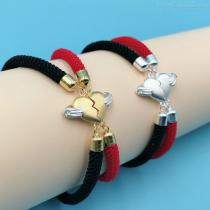 925-Sterling-Silver-Heart-Shape-Couple-Red-Rope-Charm-Bracelet
