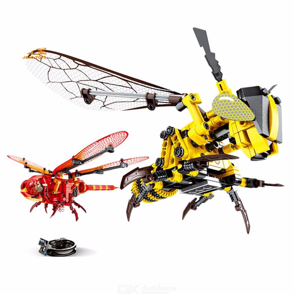 DIY Simulation Insect Hand Hornet Red Dragonfly Wisdom Model Building Block Toy Mechanical Child Toy