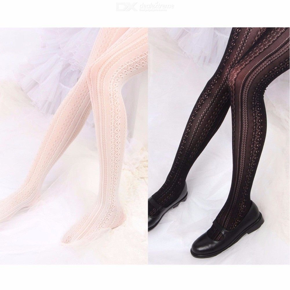 Spring Summer Girls Tights Hollow Striped Sexy Stockings Women Lolita Lace Tights Japanese Pantyhose With Foot