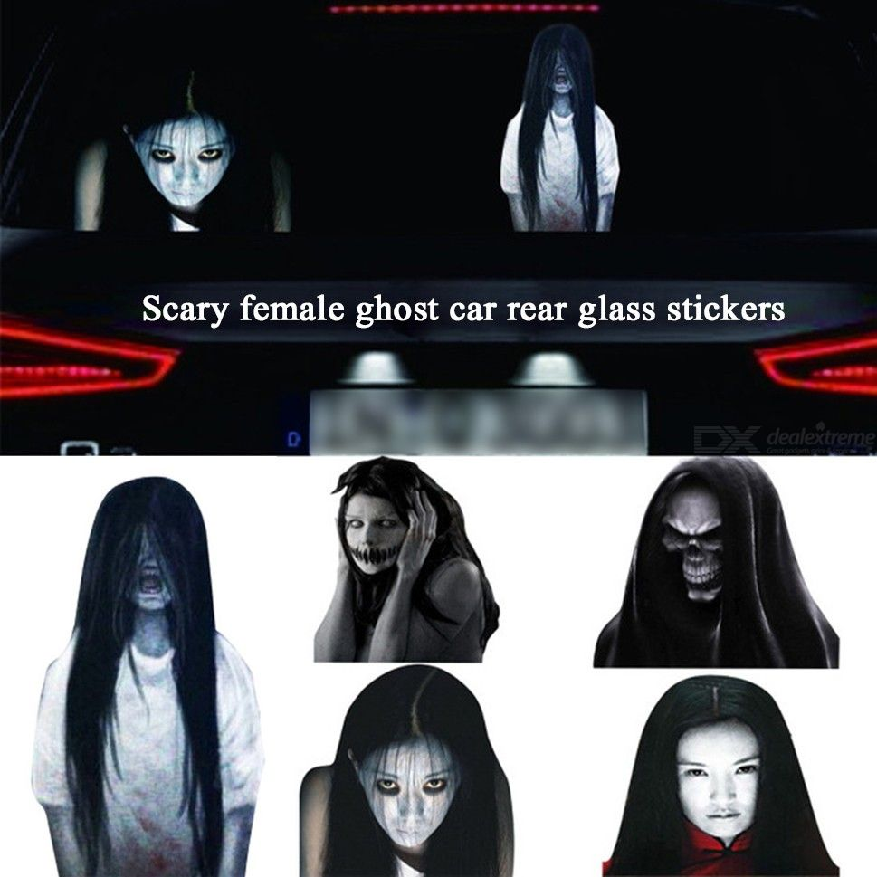 Halloween Decor Sticker 3D Transparent Scary Female Ghost Car Rear Window Decal Stickers