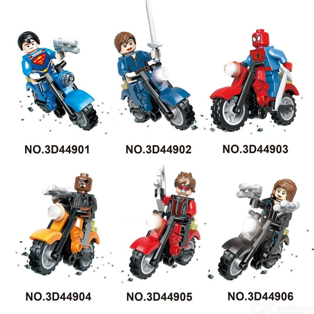 6Pcs Super Heroes Knights Motorcycle Mighty Micros Building Block Model Bricks Toy For Children