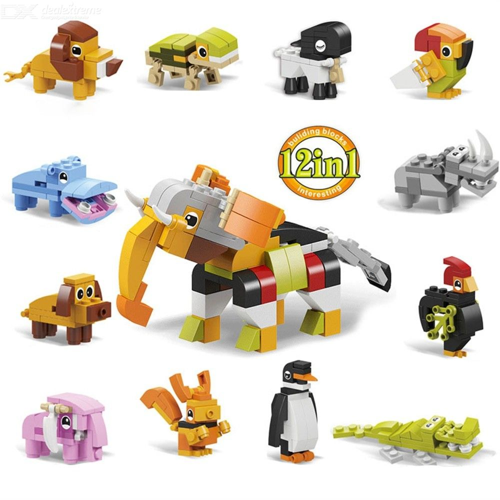 12 In 1 DIY Animal Building Blocks Toys Penguin Tortoise Crocodile Elephant Bricks Kids Gift