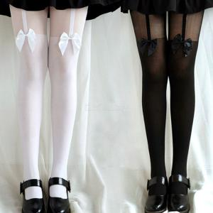 Sexy Fake High Stockings Sweet Bow Suspender Pantyhose Cosplay Tights For Women