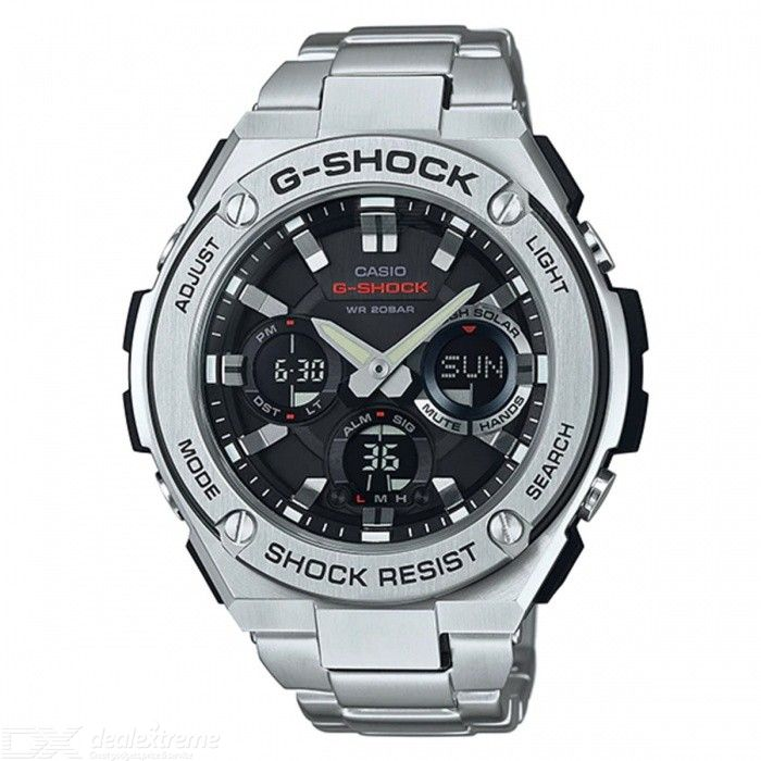Casio G-Shock GST-S110D-1A Quartz Resin and Stainless Steel Casual Watch - Silver + Black