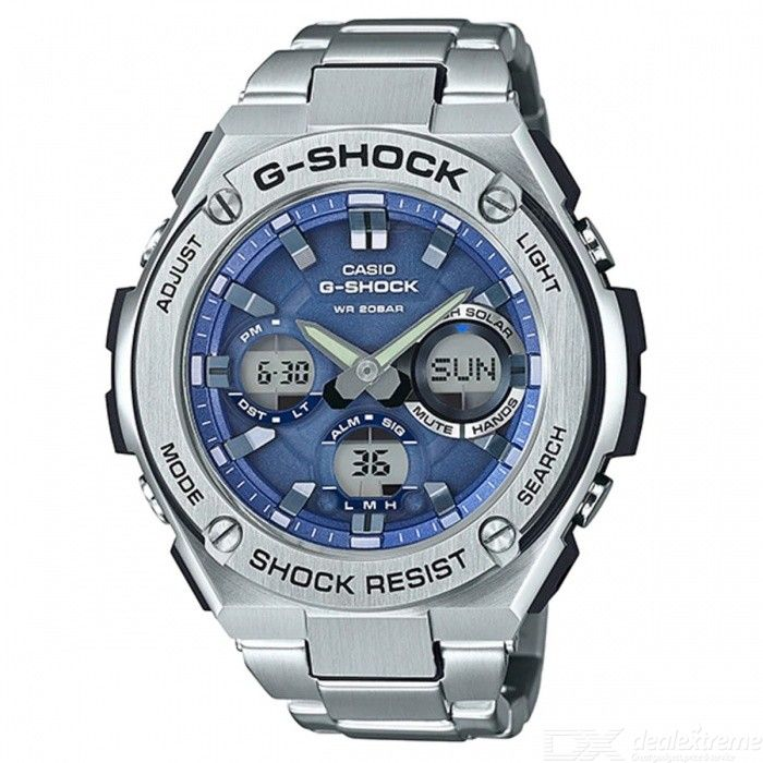 Casio G-Shock GST-S110D-2A Quartz Resin and Stainless Steel Casual Watch - Silver + Blue