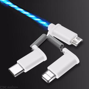 LED USB Cable Flash Light Data Line Mobile Phone Charger Type-C Micro USB 8 Pin For Android IOS