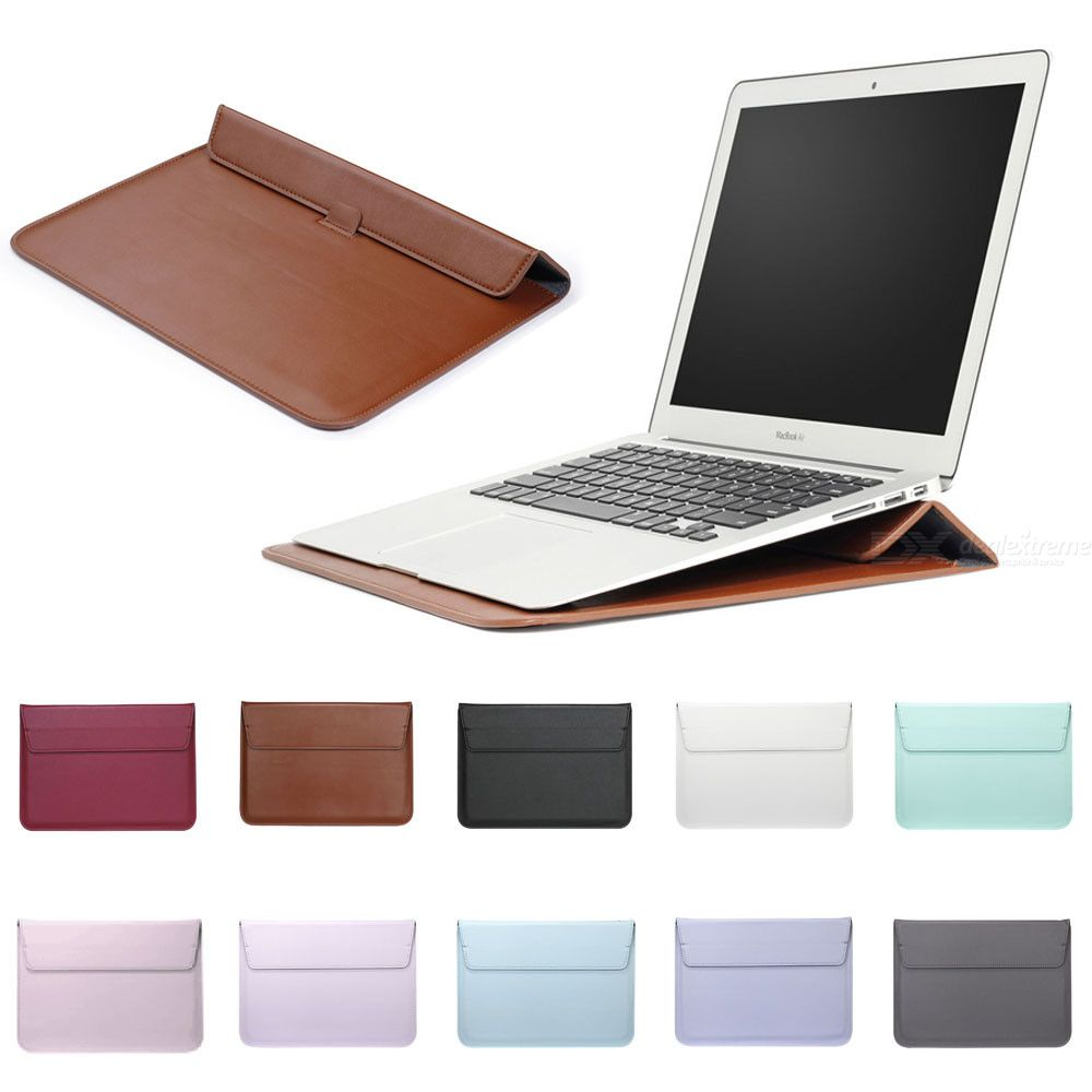 Leather Sleeve Protector Bag Stand Cover For Macbook Air 13 Pro Retina 11 12 13 15 touch bar Laptop Case