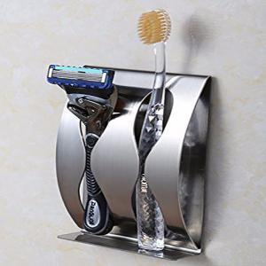 Stainless Steel Toothbrush Holder Household Wall Mount Toothpaste Stand Rack Toothbrush Dispenser 2 seats