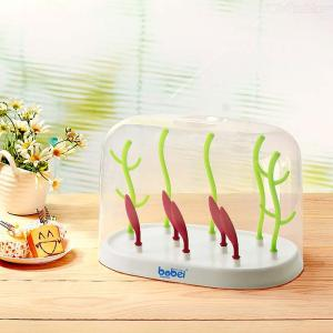 Baby Bottle Drying Rack Dryer Holder For Feeding Accessory With Dust-proof Lid