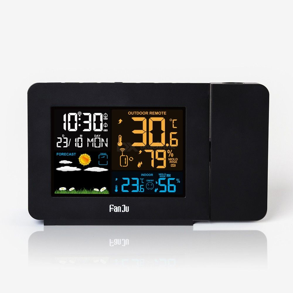 FanJu 3391 Digital Alarm Clock Forecast Weather Station Snooze Table Clock with Time Projection - Black