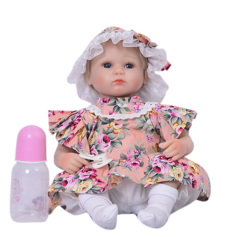 18 Inch/43CM Reborn Baby Doll Toy Silicone Newborn with Magnetic Pacifier Clothes for Girls