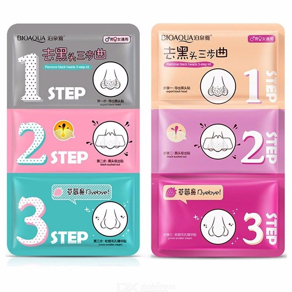 3-step Blackhead Remover Deep Cleansing Nose Mask With Activated Carbon