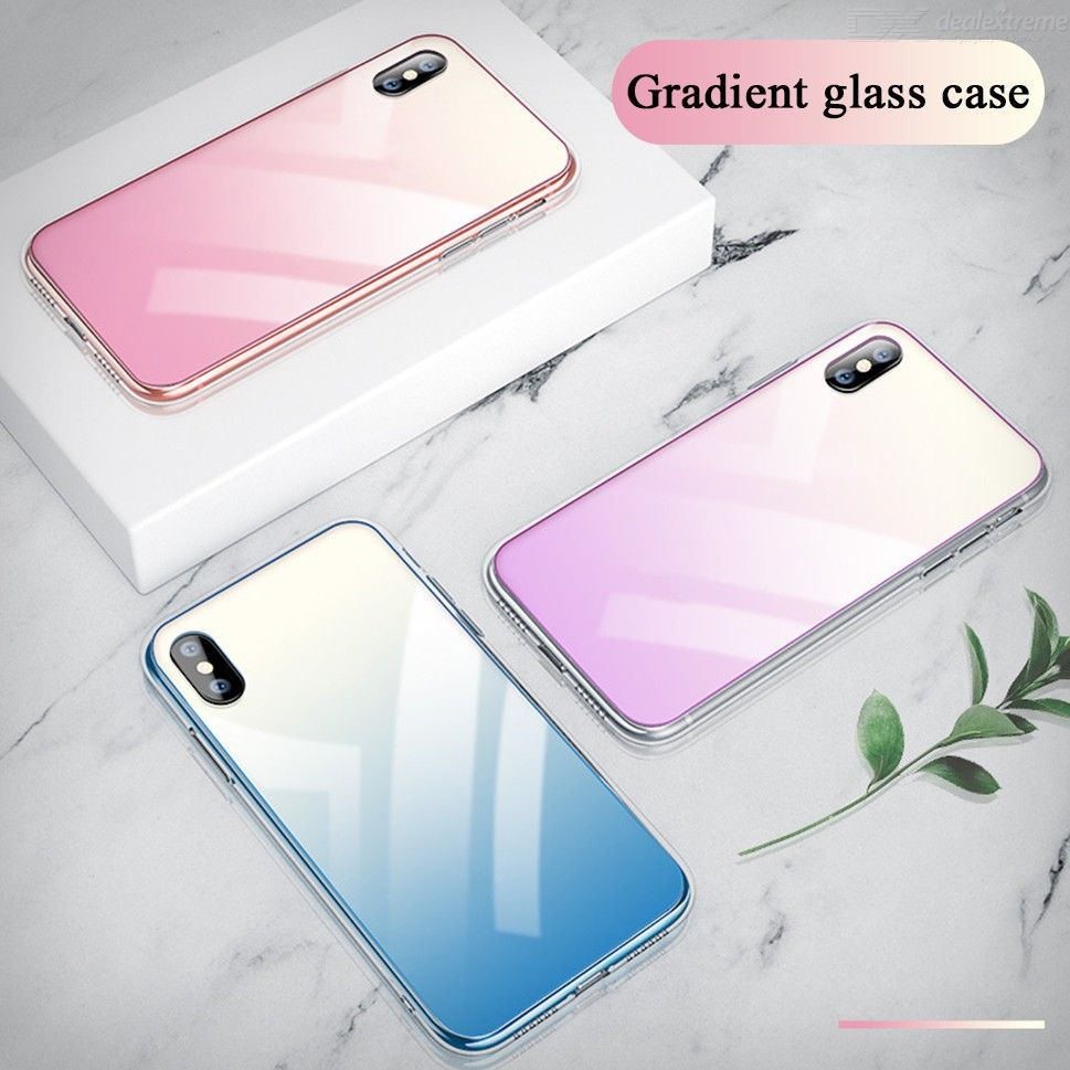 Tempered Glass Case Gradient Back Cover With TPU Bumper For IPHONE X XS XS MAX XR