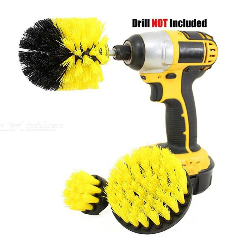 3Pcs/Set Power Scrubber Drill Brush Clean For Bathroom Surfaces Tub Shower Tile Grout Cordless Power Scrub Cleaning Kit